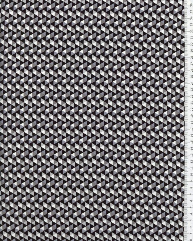 Printed cotton poplin mosaic triangle Black - Tissushop