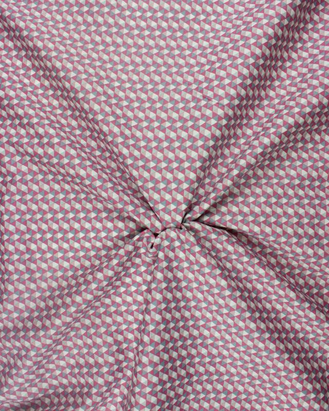 Printed cotton poplin mosaic triangle Pink - Tissushop