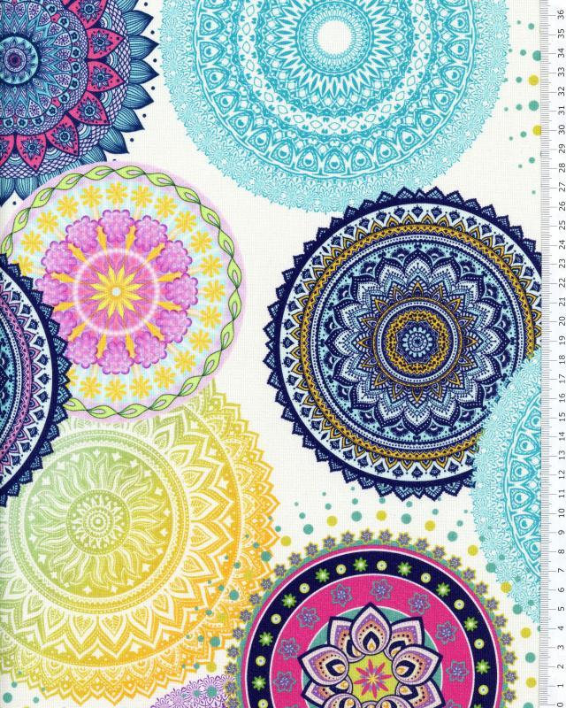 Coton Impression Digitale Mandala Bleu - Tissushop