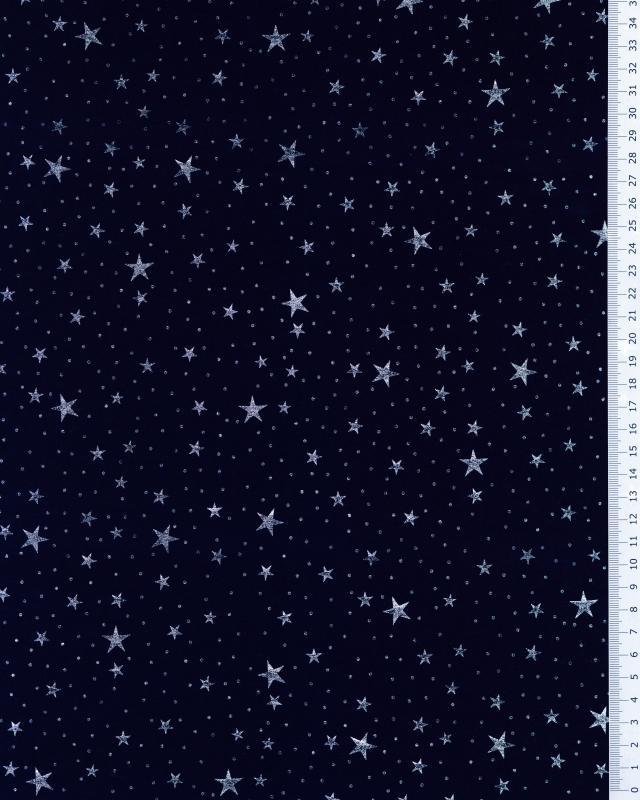 Jersey Étoile argenté / Bleu Marine - Tissushop