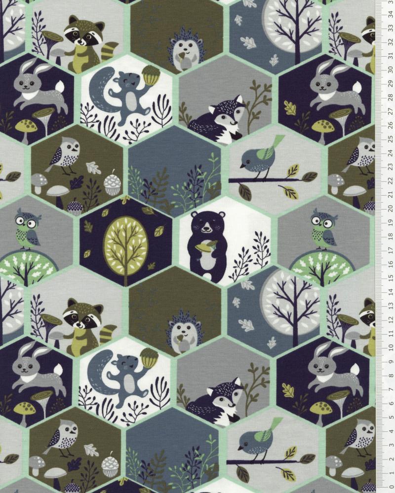 Jersey Alvéoles Animaux de la Forêt Vert - Tissushop