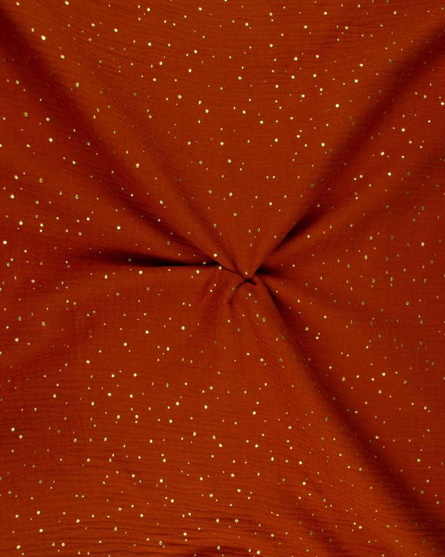 Muslin gold dots sky Rust - Tissushop