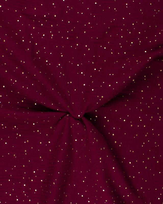 Muslin gold dots sky Bordeaux - Tissushop