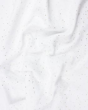 Muslin gold dots sky White - Tissushop