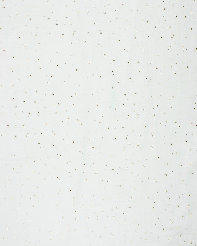 Muslin gold dots sky Ivory - Tissushop