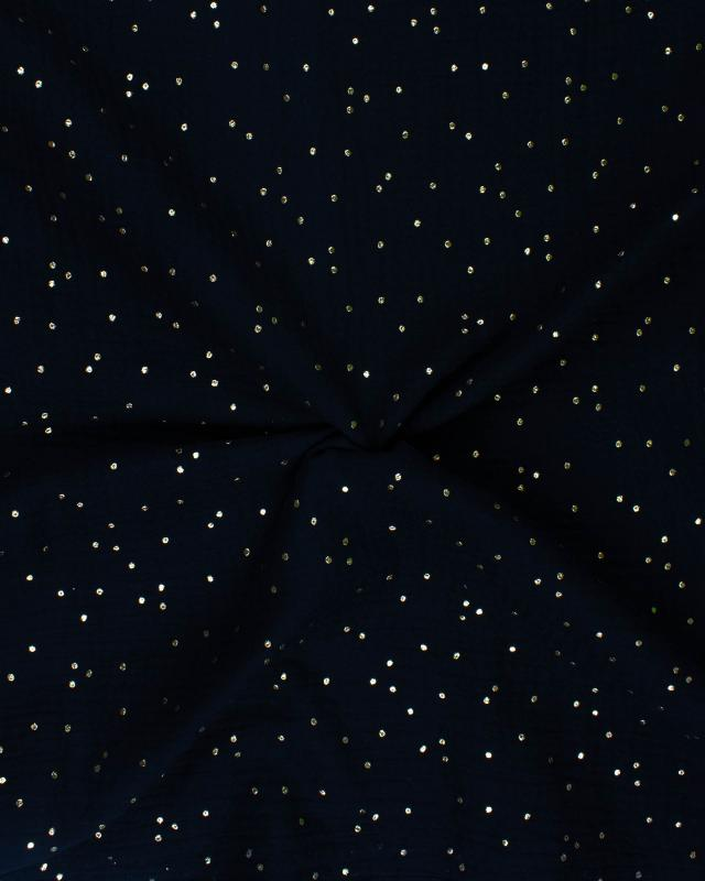 Muslin gold dots sky Black - Tissushop