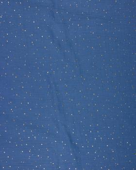 Muslin gold dots sky Blue - Tissushop