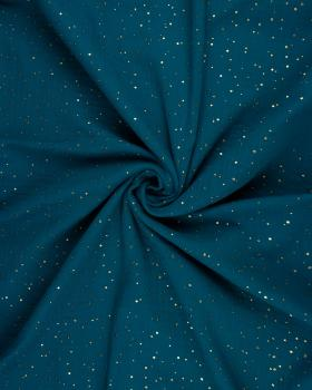 Muslin gold dots sky Dark Cyan - Tissushop
