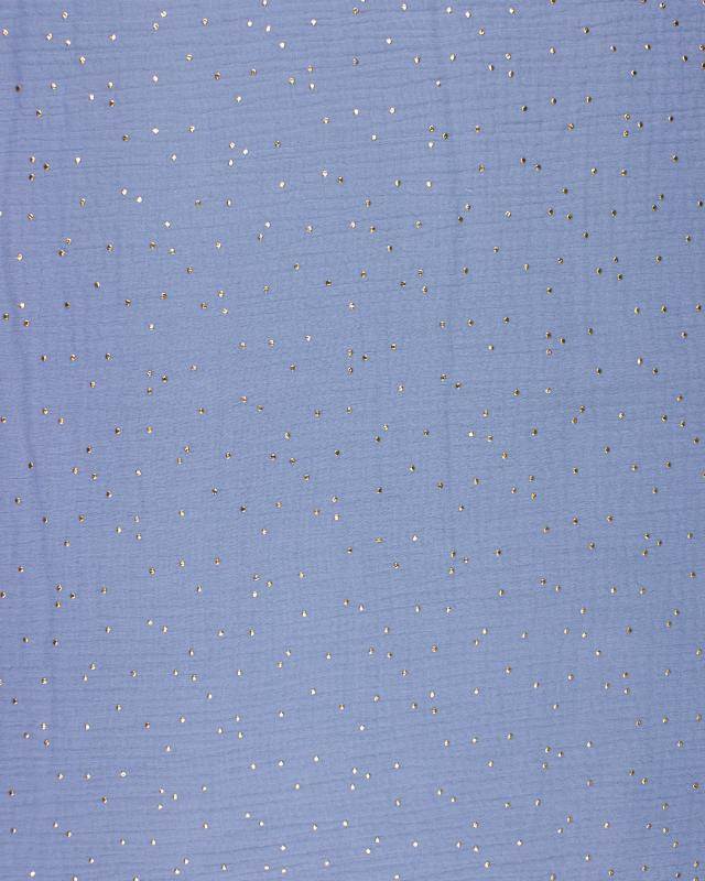 Muslin gold dots sky Light Blue - Tissushop