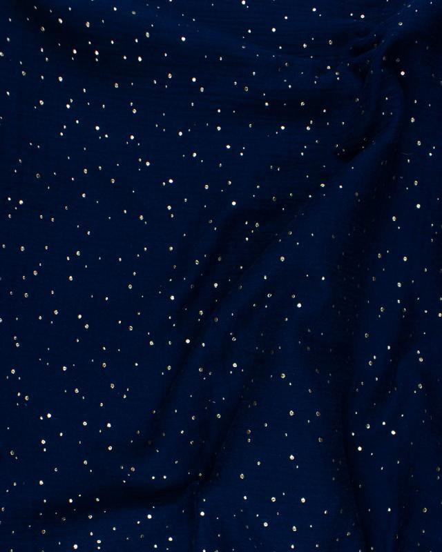 Muslin gold dots sky Navy Blue - Tissushop