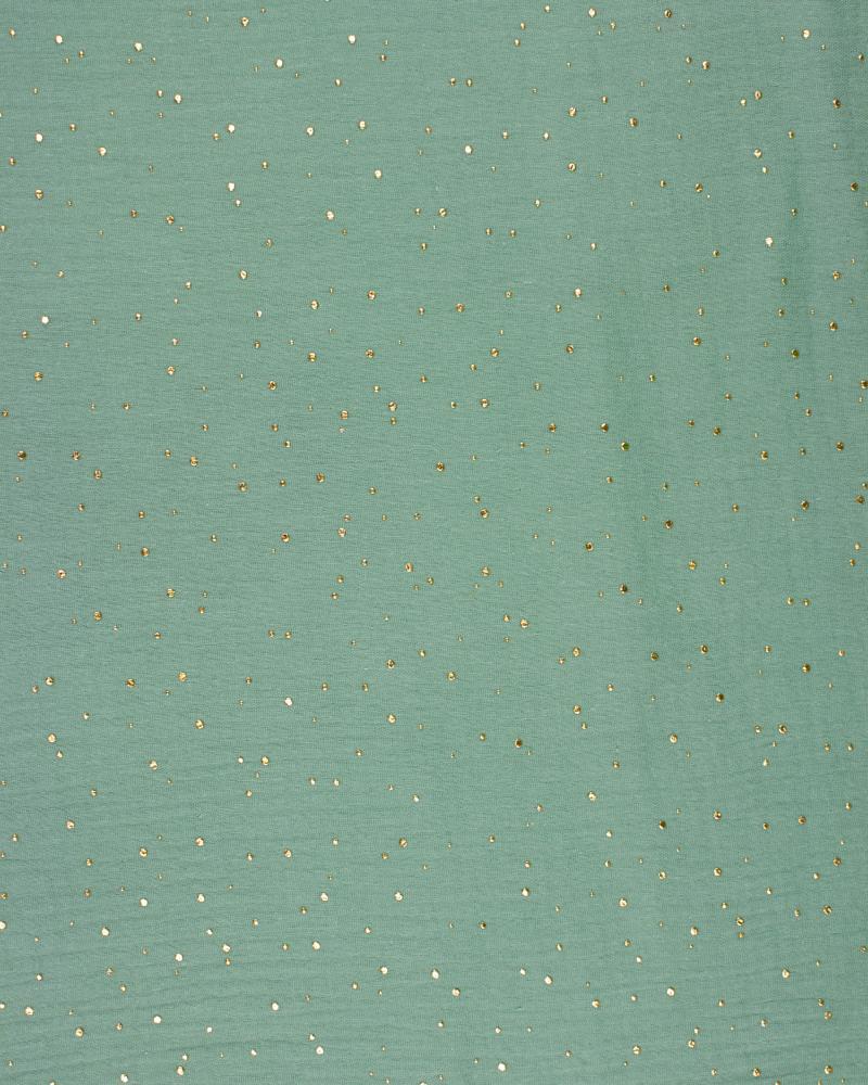 Double gaze pois doré Vert Eucalyptus - Tissushop