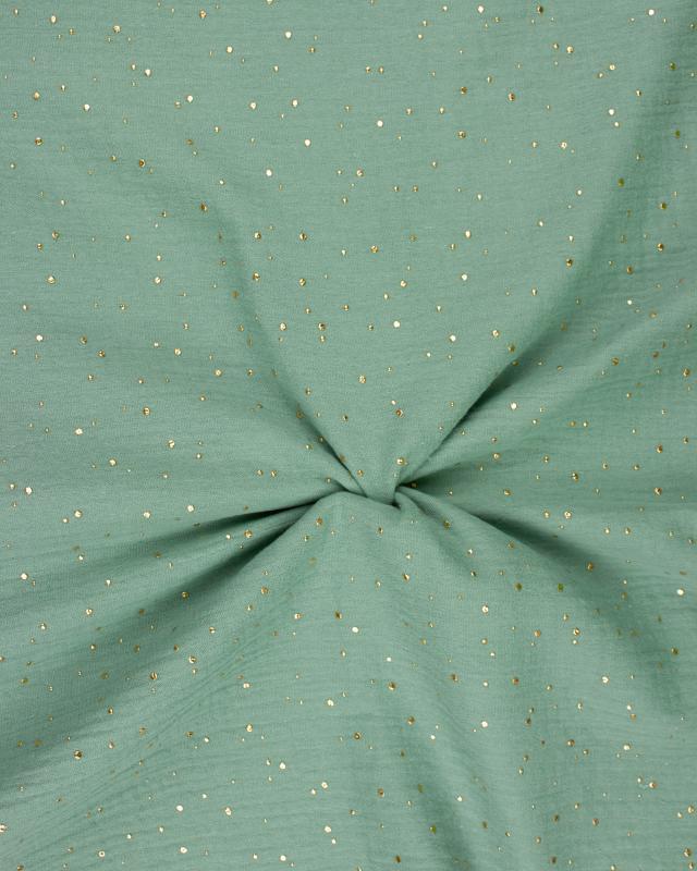 Muslin gold dots sky Eucalyptus Green - Tissushop