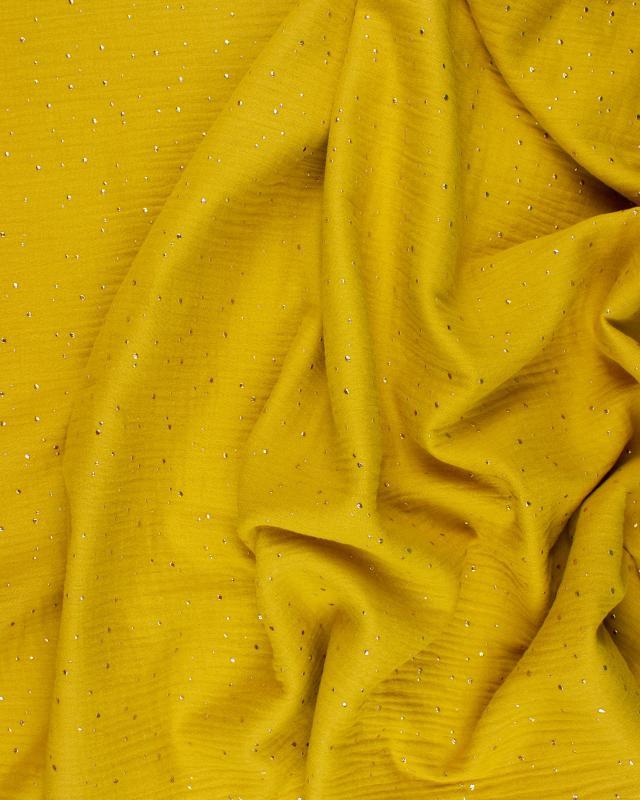 Muslin gold dots sky Mustard - Tissushop