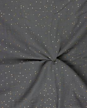 Muslin gold dots sky Grey - Tissushop