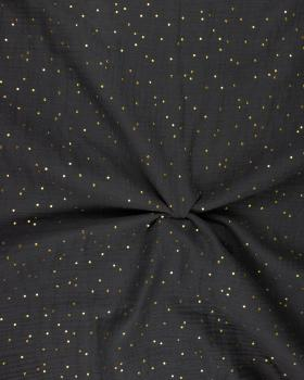 Muslin gold dots sky Dark Grey - Tissushop