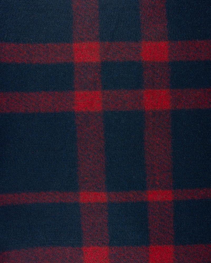 Lainage carreaux rouge sur fond Bleu Marine - Tissushop