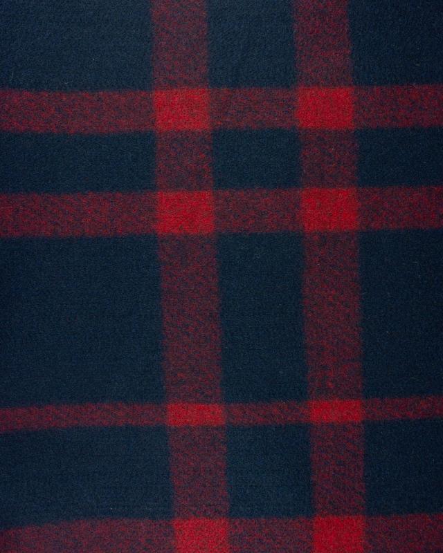 Red Woolen Squares - background Navy Blue - Tissushop