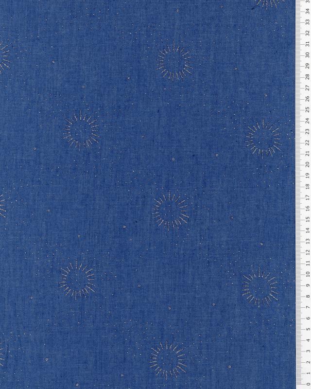 Cotton fabric denim effect strass sun pattern Blue Jeans - Tissushop