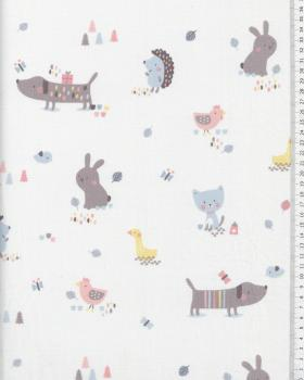 Cotton Popeline Pastel animals - Tissushop