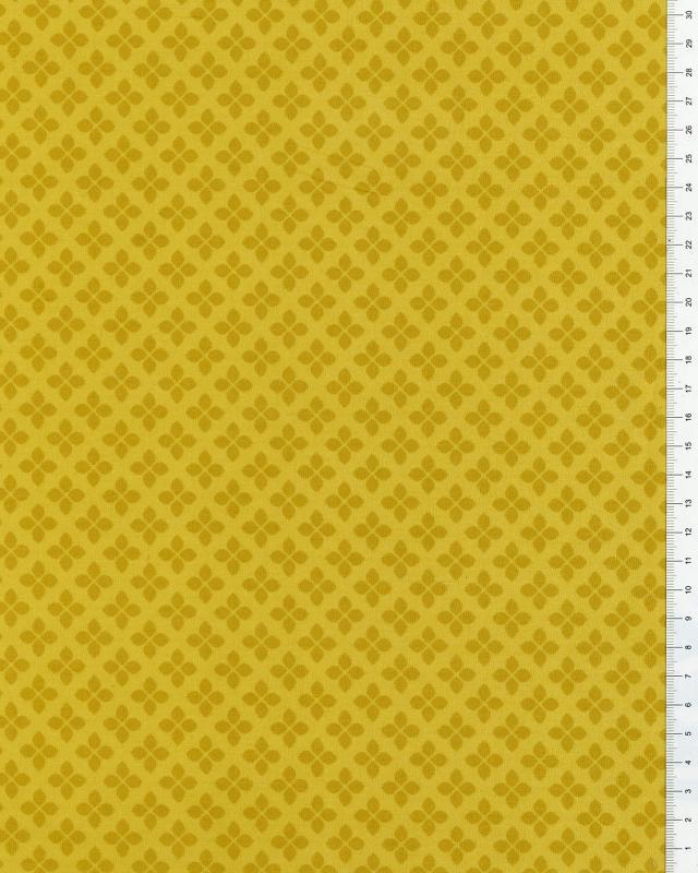 Cotton Popelin flowers 2 shades Mustard - Tissushop