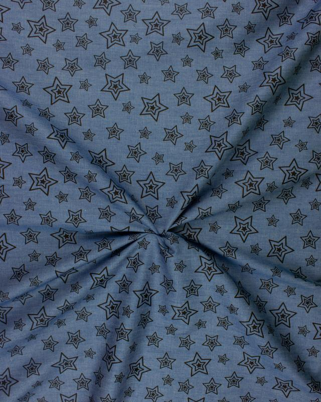 Cotton fabric denim effect star Black - Tissushop