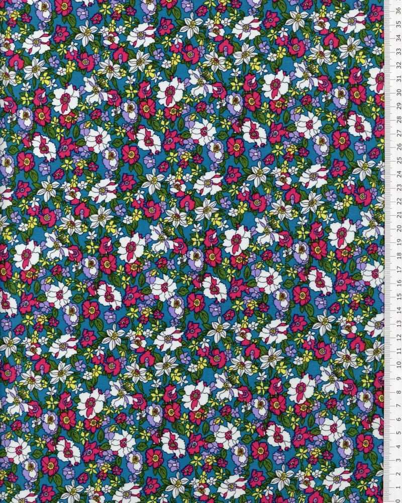 Popeline de Coton Fleurs Paula - Tissushop
