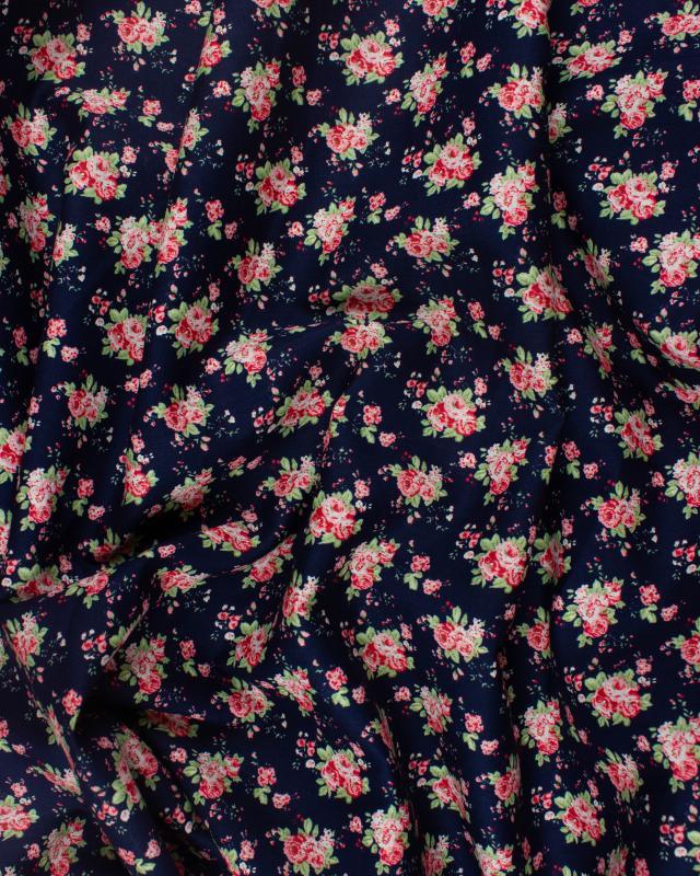 Popeline de Coton Fleurs Rachel - Tissushop