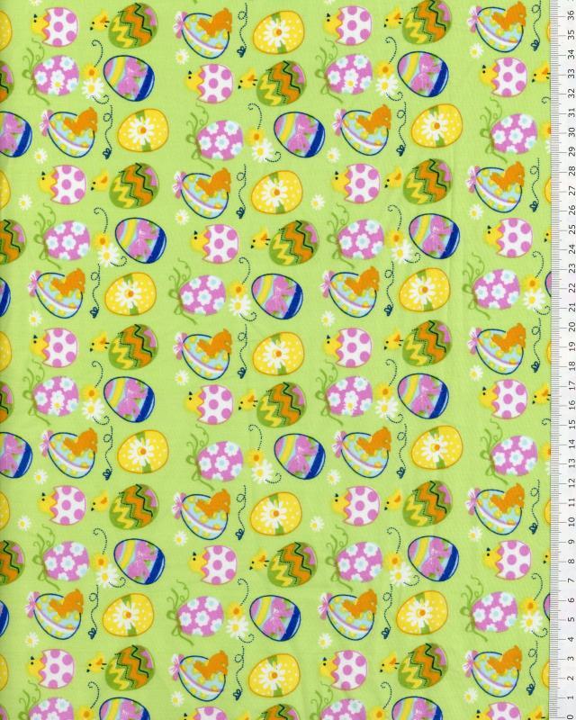 Popeline de Coton Oeufs de Pâques Vert - Tissushop