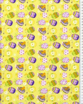 Cotton Popelin Egg Easter Yellow - Tissushop