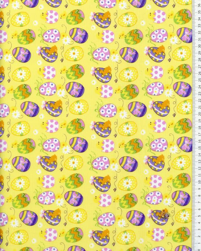Cotton Popelin Egg Easter Yellow - Tissushop