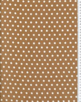 Cotton Popelin White stars on a background Beige - Tissushop
