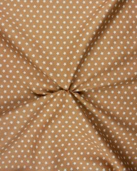 Cotton Popelin White stars on a background Beige - Tissushop