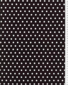 Cotton Popelin White stars on a background Black - Tissushop