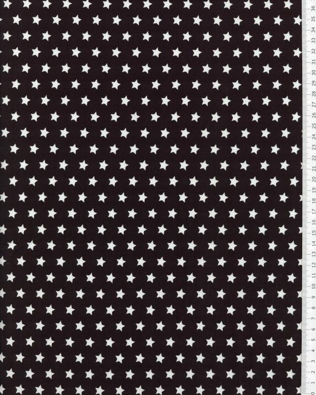 Popeline de Coton Etoiles blanches sur fond Noir - Tissushop