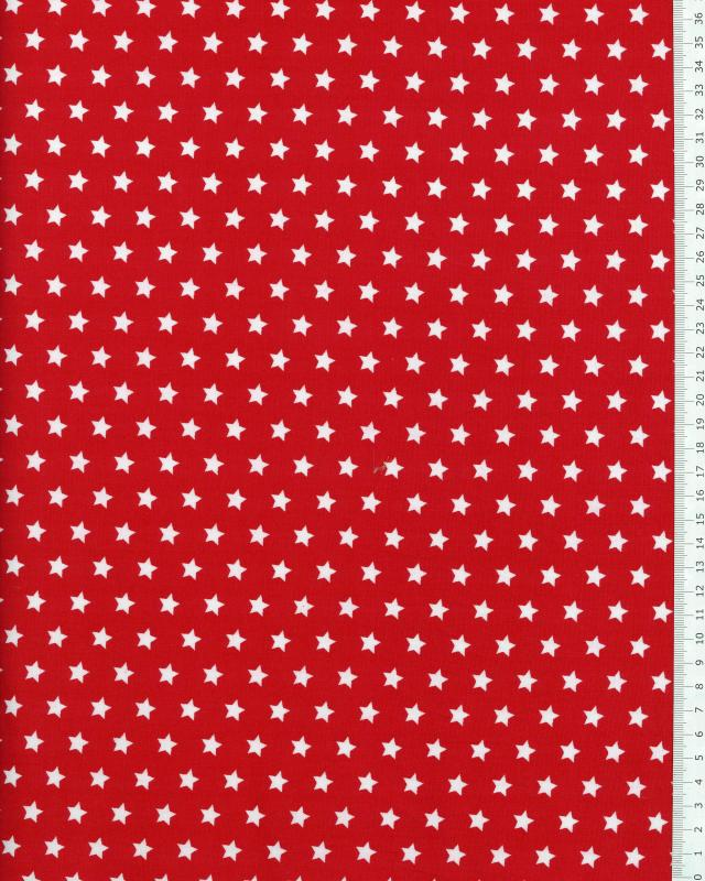 Cotton Popelin White stars on a background Red - Tissushop