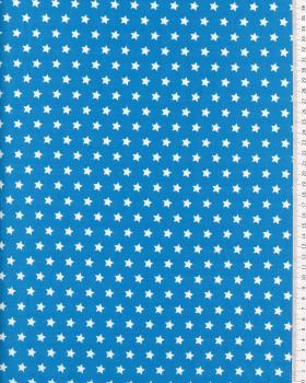 Cotton Popelin White stars on a background Turquoise Blue - Tissushop