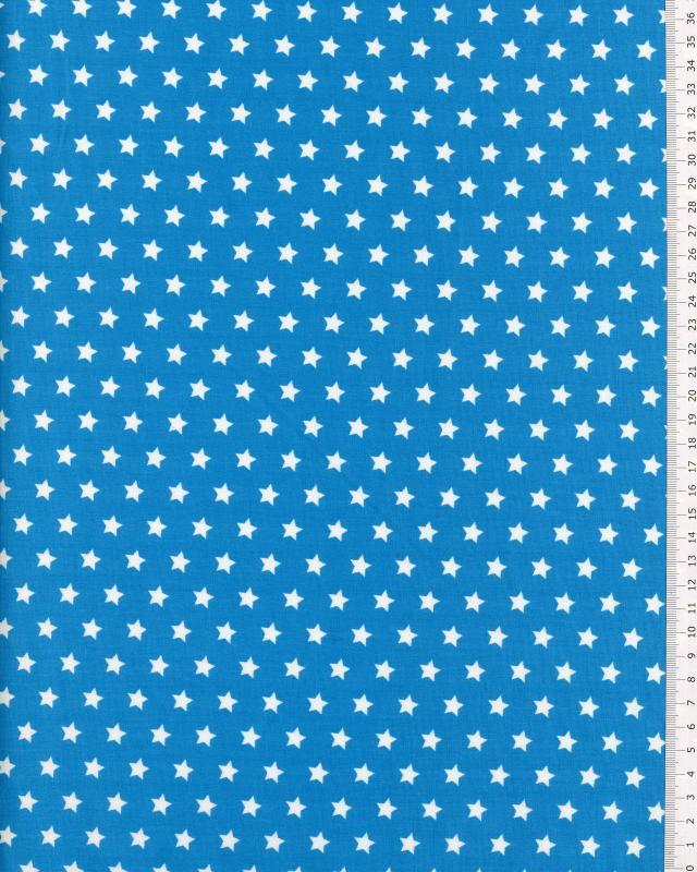 Popeline de Coton Etoiles blanches sur fond Bleu Turquoise - Tissushop
