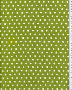 Cotton Popelin White stars on a background Spring Green - Tissushop