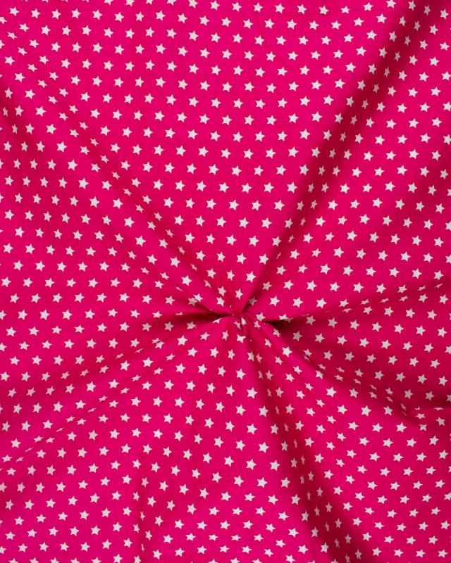 Cotton Popelin White stars on a background Pink - Tissushop