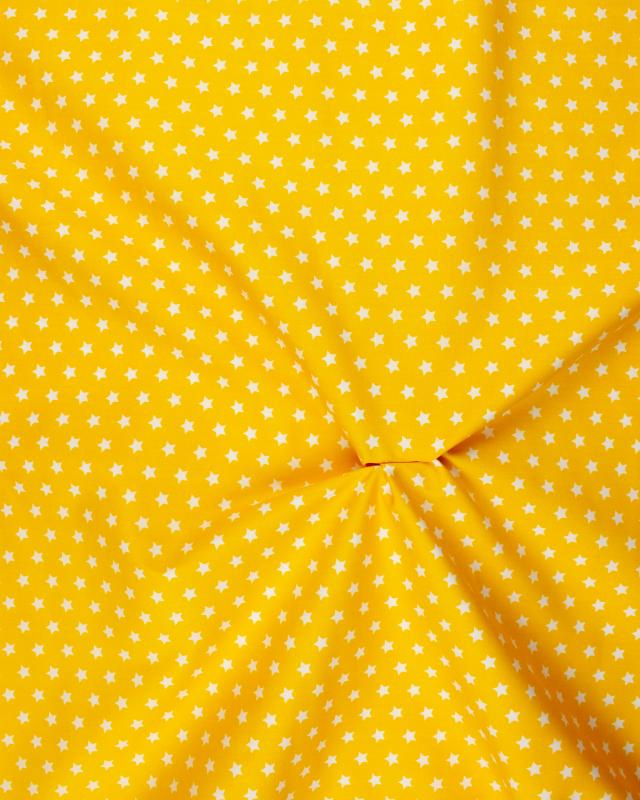 Cotton Popelin White stars on a background Yellow - Tissushop
