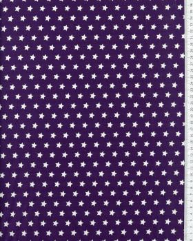 Cotton Popelin White stars on a background Purple - Tissushop