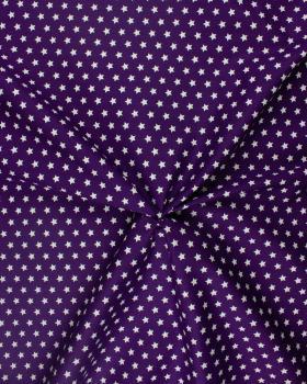 Popeline de Coton Etoiles blanches sur fond Violet - Tissushop