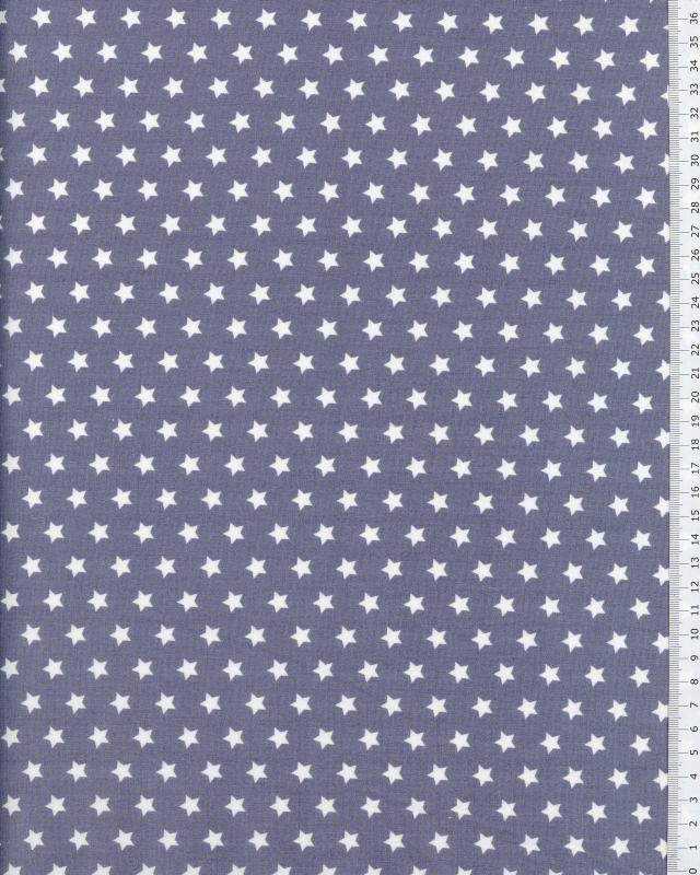 Popeline de Coton Etoiles blanches sur fond Gris Clair - Tissushop