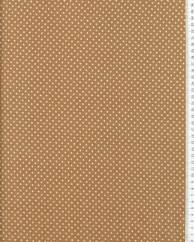 Cotton Popelin White Dot on a background Beige - Tissushop