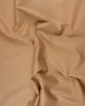 Popeline de Coton Petits Pois Blancs sur fond Beige - Tissushop