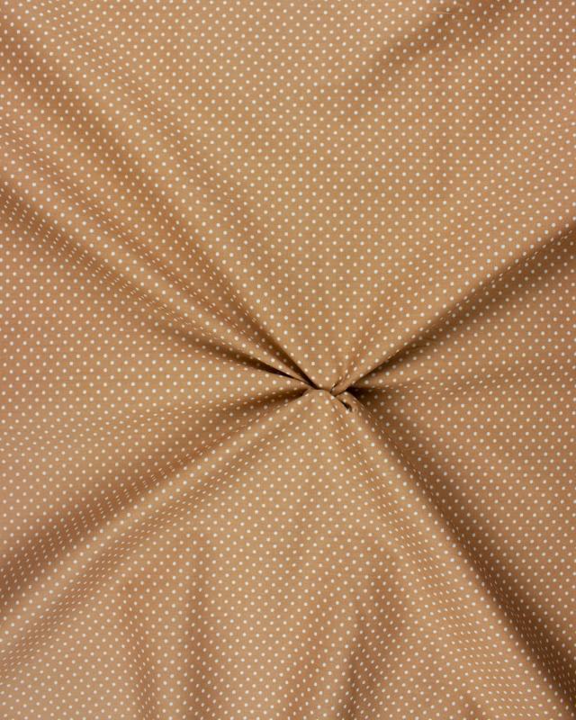 Cotton Popelin White Dot on a background Beige - Tissushop