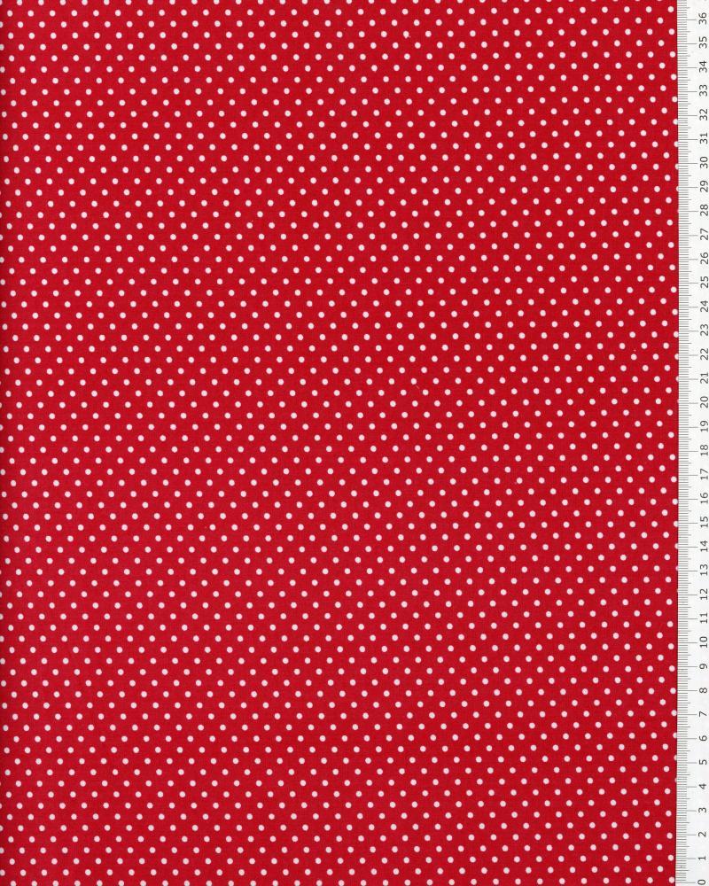 Popeline de Coton Petits Pois Blancs sur fond Rouge - Tissushop
