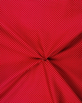 Cotton Popelin White Dot on a background Red - Tissushop