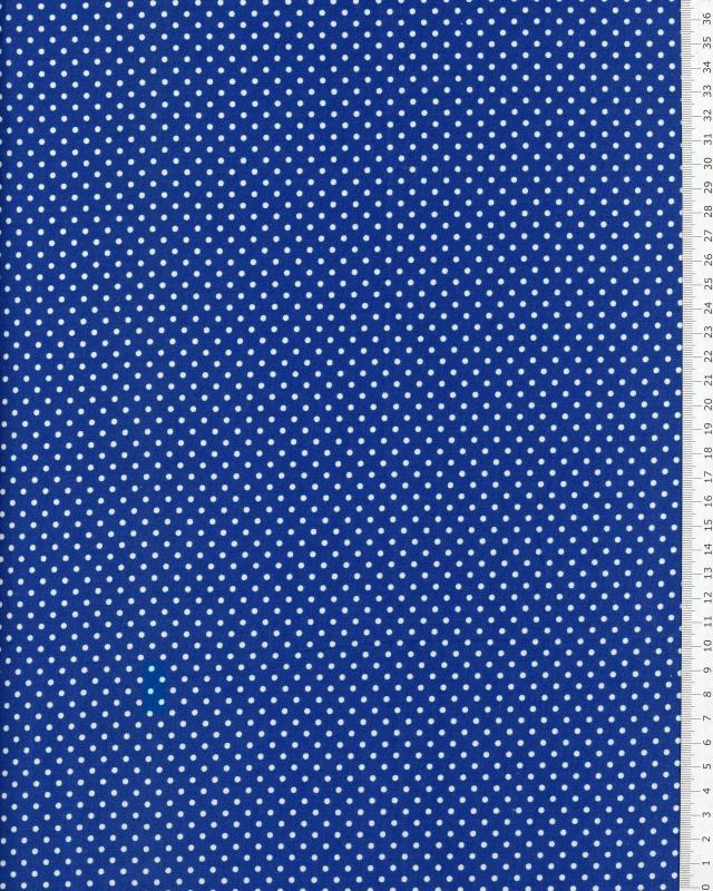 Cotton Popelin White Dot on a background Blue - Tissushop