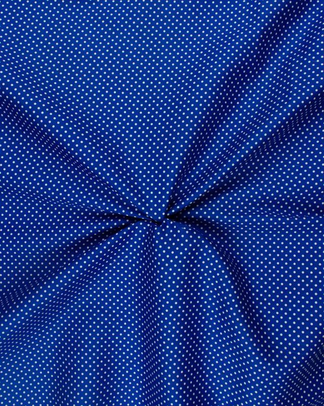 Popeline de Coton Petits Pois Blancs sur fond Bleu - Tissushop